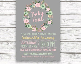 Gold Foil Boho Baby Shower Invitation, Pink and Mint Green Rustic Floral Wreath, Peach Gray, Baby Girl, Printed or Printable Invitation