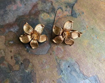 Gold flower clip on earrings-flower earrings