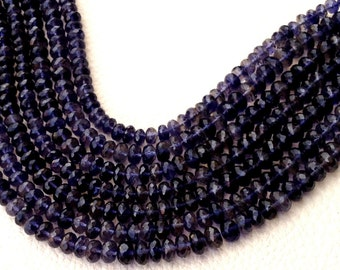 8 Inch Strand, WATER SAPPHIRE IOLITE Micro Faceted Rondells, 5-7mm Size,Great Quality at Low Price