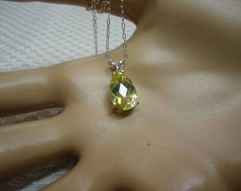 Pear Cut Checkerboard Faceted Lemon Quartz Necklace in Sterling Silver  #2032