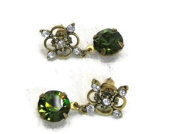 SALE Vintage Swarovski Crystal earrings green olivene