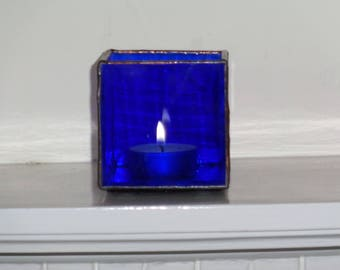 Blue glass tea light holder
