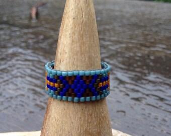 Disa... Seed bead ring, peyote stitch, fractal, sacred geometry