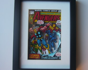 The Avengers Comic 3D Shadow Box Framed Art (issue 112 ) diorama geek home decor thor iron man black panther