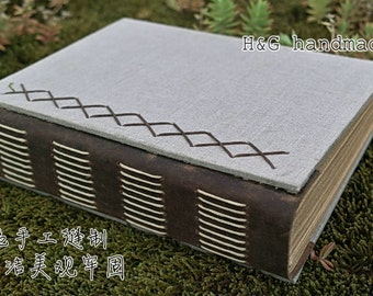 line handmade linen journal with leather , blank paper notebook ,coptic binding ,handbound,unique gift,guest book
