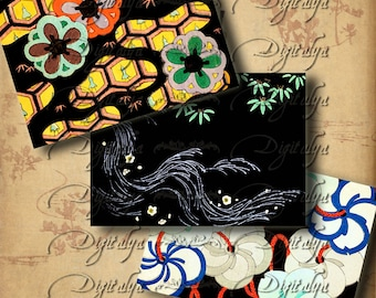 Vintage Night in Japan (2)  Digital Collage sheet - Instant Download - Graphic Arts from 1900s for Belt Buckle, ATC size Cards - 63x89mm