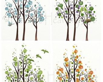 4 Season Set Tree Wall Art, 11 x 14 Tree Art, Four Season Tree Print Set of 4, Living Room Wall Art, Bedroom Art, Tree Wall Decor (340)