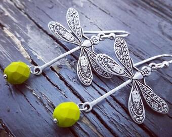 Dragonfly earrings, Dangle Earrings, Dragonfly Jewelry, yellow Glass Earrings, gift for her
