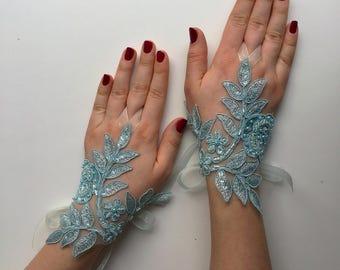 BRIDAL GLOVES! Wedding gloves, Wedding lace gloves, Turquoise Gloves, Bridal lace gloves, Beach wedding, Elegant gloves, Bridal accessory