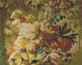 Floral Cross Stitch Chart, Flowers Cross Stitch Pattern PDF, Art Cross Stitch, Joseph Nigg, Embroidery Chart