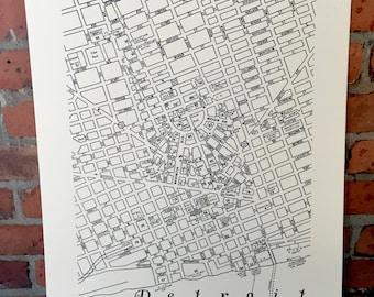 """Vintage Downtown Detroit Map 18"""" x 24"""" Silkscreened Print"""