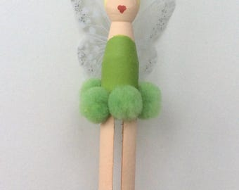 Unique hand-painted Tinkerbell peg dolly decoration