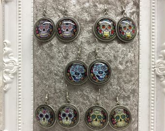 Day of the Dead Cabochon Earrings