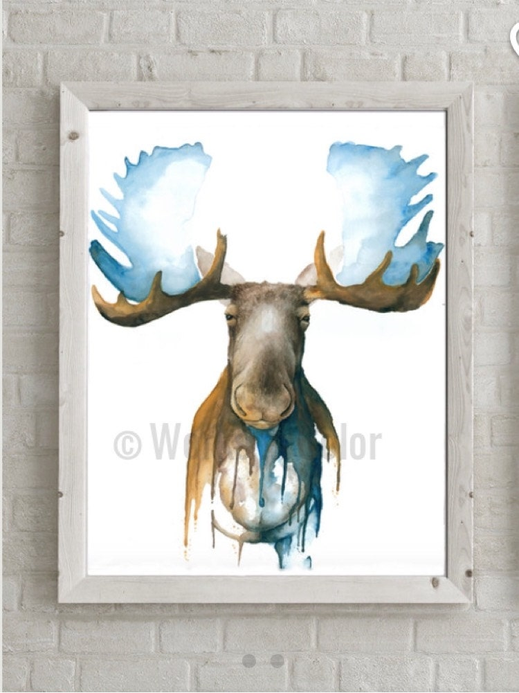 Abstract Moose Watercolor Glicee Print Made From Original