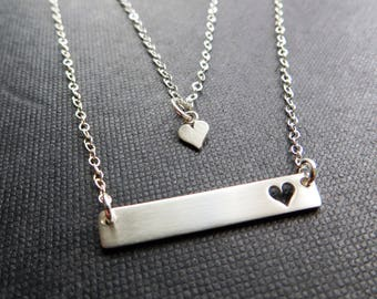 Mother daughter bar necklace, gift for mom, heart cutout, sterling silver, first day of kindergarten, mother daughter jewelry, gift for her