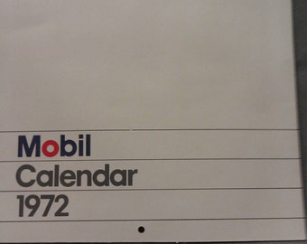 Please do not buy No longer available Mobil Oil Calendar 1972