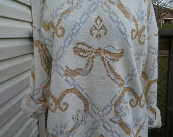 Vintage Sweater, 1980's Sweater, Slouchy Sweater, Oversized Sweater, Bow Sweater, Mixed Metal Sweater, White Sweater, Cozy Sweater,