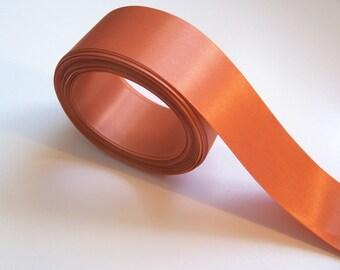 Orange Ribbon, Burnt Orange Satin Ribbon 1 1/2 inches wide x 10 yards, Single-Face, SECOND QUALITY FLAWED