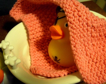 Modern, Hand-knit Cotton Dishcloth or Washcloth - Rose Pink