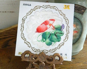 Japanese Silk Hankie - Vintage Hand Painted Silk Handkerchief