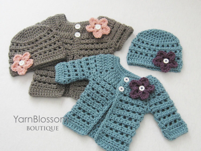 CROCHET PATTERN - Mini Miss Cardigan & Beanie - baby sweater baby ...