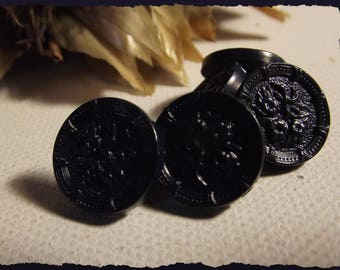 """5 buttons Navy floral decoration in relief * 14 mm 0.55 """"shank button sewing notions 1.4 cm"""