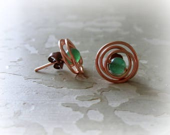 Copper Stud Earrings, Aventurine Studs, Green Stone Studs, Wire Wrap Studs, Copper Studs, Green Stud Earrings, Stone Post Earrings