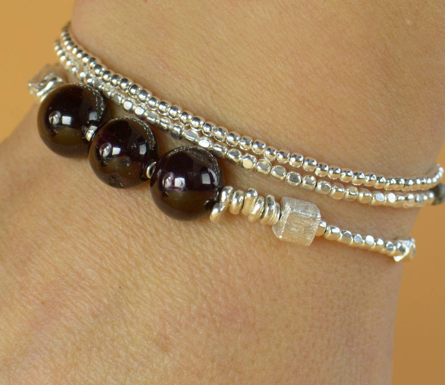 bracelet silver with accents garnet pin red antiqued