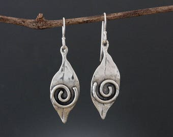 Sterling Silver Leaf Earrings with Spiral - Spiral Earrings - Leaf Drop Earrings - Organic Earrings - Flutter Earrings - Silver Earrings