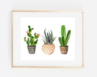 Cactus art, cactus print, tribal print, tribal decor, succulent art print, cactus watercolor, garden decor, plant print, western printable