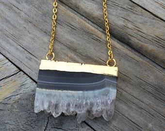 Amethyst Slice Raw Crystal Necklace, Amethyst Necklace, Crystal Necklace, Rectangle Crystal Necklace