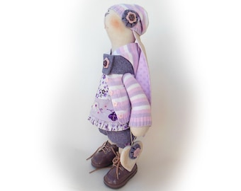 """Emily Easter bunny doll Stuffed toy Rabbit OOAK doll collectible toy 18"""" 46cm Rabbit Handmade Big soft toy Gift Cloth doll Bunny tilda lilac"""