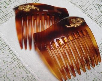 2 Vintage French Hair Combs 1960s Faux Tortoise Shell Hair Accessories 53 mm (2 1/8 inches) Wide
