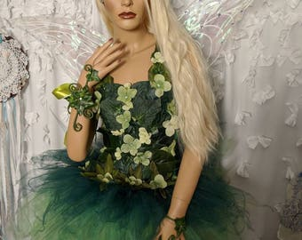Realistic Adult Tinkerbell costume dress, Woodland fairy costume dress,Green foliage leaf fairy costume,fairy festival costume, mother natur