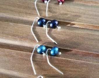 Navy blue, bright blue, red wine, key lime, or dove grey pearl earrings. These gorgeous little earrings are perfect for everyday wear.