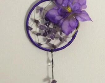 Purple Amethyst Flower Dreamcatcher