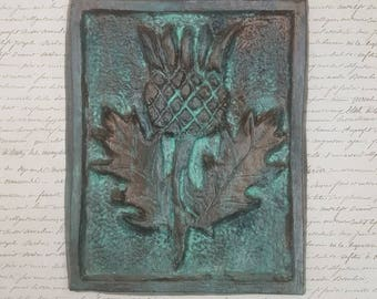 Scottish thistle, Scotland, wall art, rustic, ceramic, clay carving, unique gift, Christmas gift