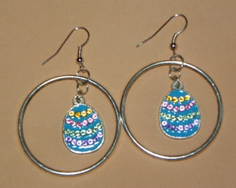 Easter Egg earrings colored egg earrings Easter earrings Easter jewelry blue earrings dangle earrings hoop earrings silver earrings gift