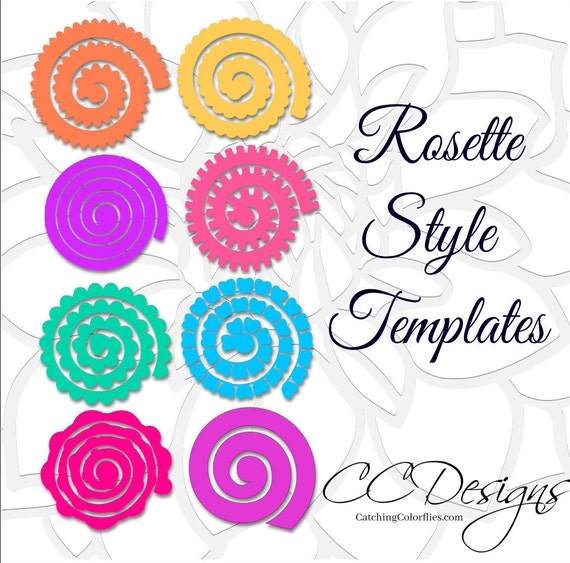 Paper rolled rosette templates diy paper flowers printable for Rolled paper roses template