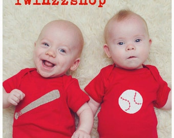 """Baseball Twin set """"Bat and Ball"""", Twin set of baby bodysuits, great baby shower gift for twins,"""