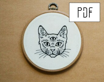 PDF pattern - PDF pattern -  Three Eyed Cat Hand Embroidery Pattern (PDF pattern -  modern embroidery pattern)