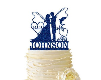 Glitter Bride and Groom With Fishing Poles With Initials or Date In Heart and Last Name - Wedding - Anniversary - Fishing Cake Topper -  135