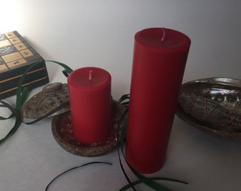 Red Soy Wax Pillar Candles