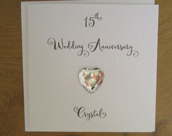 15th anniversary card- Crystal-  crystal wedding anniversary card - traditional handmade gift - Husband, Wife