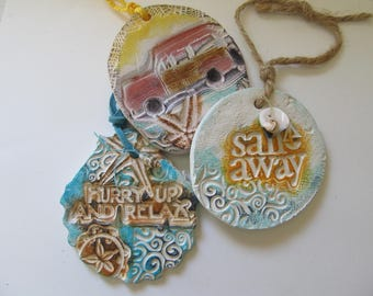 Beach Ornaments Ceramic Blue & White, Starfish, Sea Life, Woody Wagon, Shells, Cruise Gift, Coastal Nautical Christmas Decor (Set of 3)