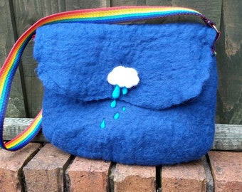 Raincloud hand felted shoulder bag with rainbow strap/handle.