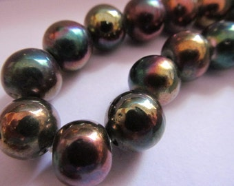 Vintage Glass Beads (4)(13mm) Copper Luster AB Beads from India 1970's