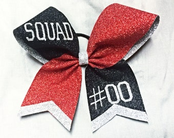 Red Black and Silver Glitter cheer bow/ Personalized cheer bow/ Sturdy Glitter cheer bow/ Choose your own team colors!