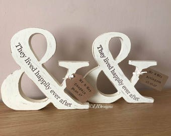 Distressed ampersand couples gift, wedding gift