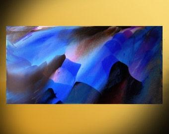 20x40 Abstract artwork   Blue Painting   original fine art   acrylic on canvas   contemporary canvas   Modern Art   office decor ideas
